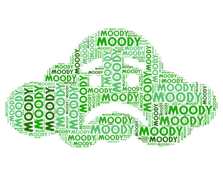 Moody Word Representing Sulky Moping And Despondent