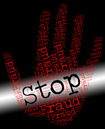 scamming: Stop Fraud Showing Warning Sign And Prohibited