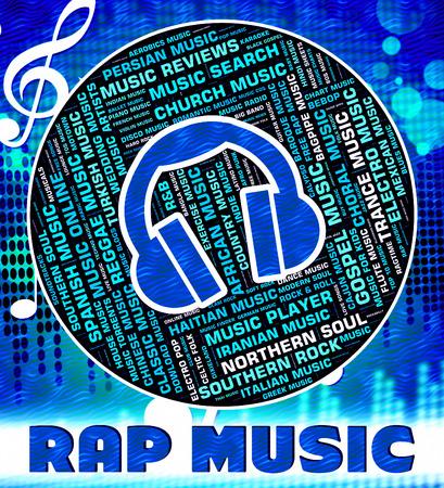 letras musicales: Rap Música Indicando pistas de sonido y el canto Foto de archivo