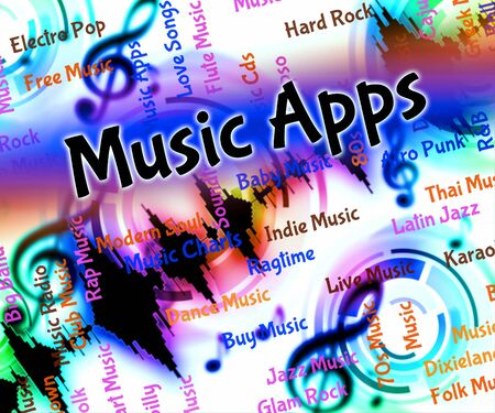 application software: Music Apps Showing Application Software And Musical