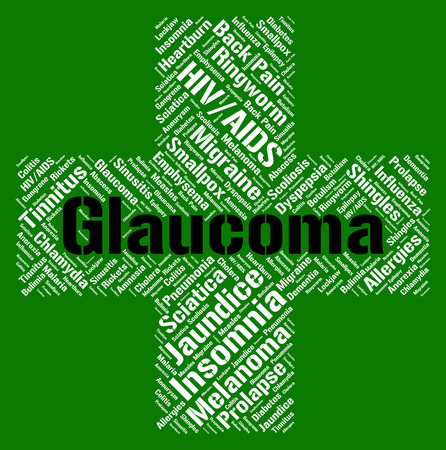 afflictions: Glaucoma Word Indicating Eye Disorder And Afflictions