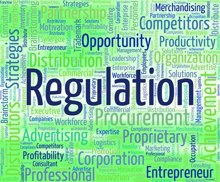Regulation Word Showing Ruling Order And Regulate Banco de Imagens