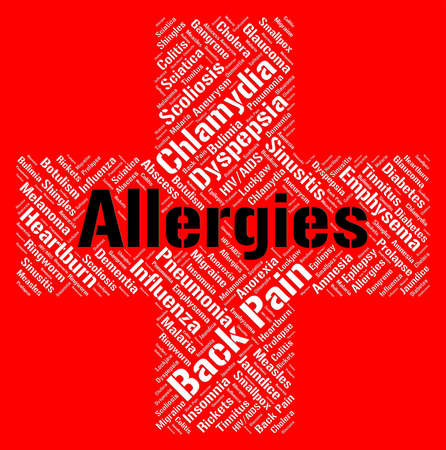 hypersensitivity: Allergies Word Indicating Ill Health And Hypersensitivity Stock Photo