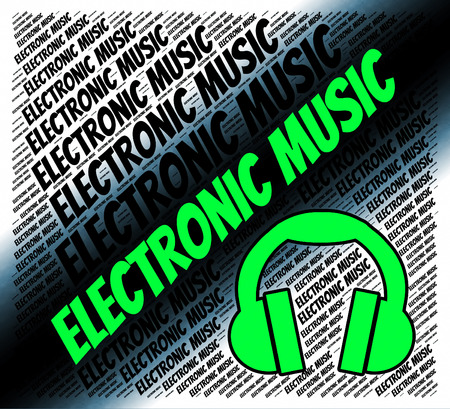 electronica musica: Música electrónica Representando pistas de sonido y el canto Foto de archivo