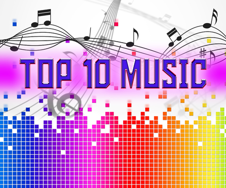 top ten: Chart Music Showing Top Ten And Hits