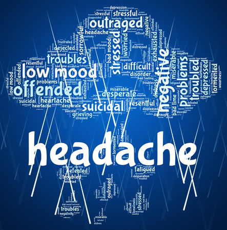 pounding head: Headache Word Showing Cephalalgia Migraines And Words