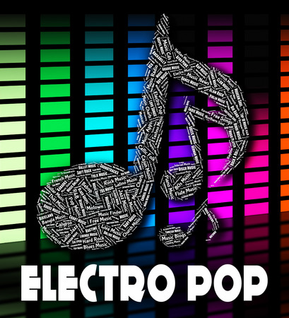 funk music: Electro Pop Meaning Electronic Sounds And Songs Stock Photo