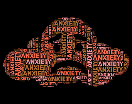 tenseness: Anxiety Word Representing Tension Uneasiness And Angst Stock Photo