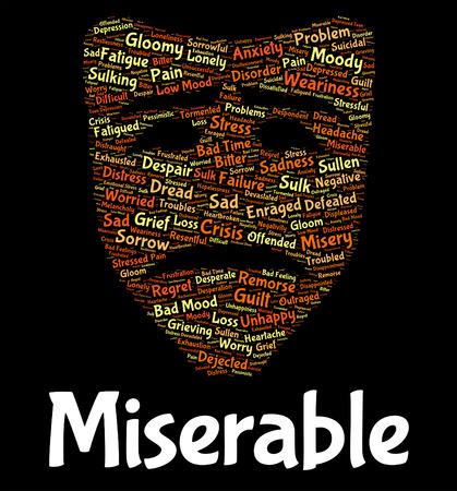 cabizbajo: Miserable Pena Significado Palabra Stricken Y Miserable Foto de archivo