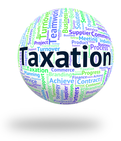 taxpayers: Taxation Word Representing Duty Wordcloud And Taxes Stock Photo