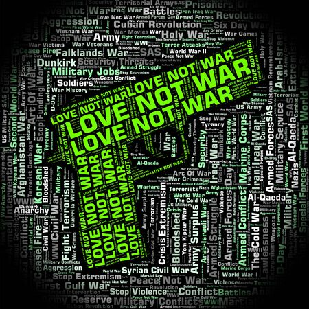 affectionate action: Love Not War Showing Military Action And Fighting Stock Photo