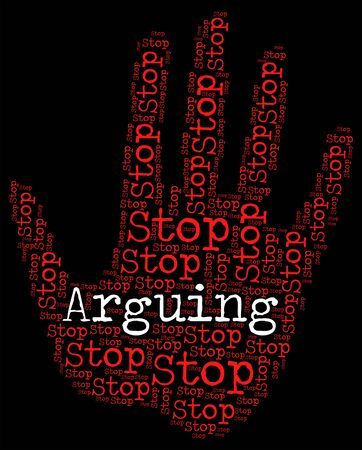 squabble: Stop Arguing Meaning Be At Odds And Be At Odds Stock Photo