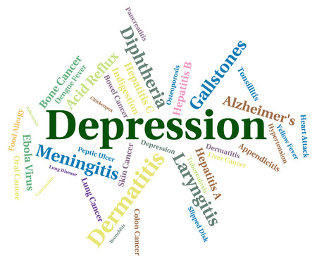 poor health: Depression Word Showing Poor Health And Ailment