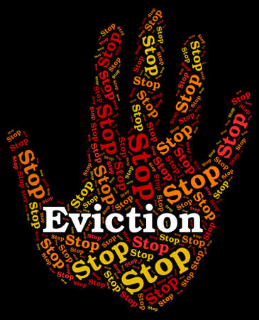 eviction: Stop Eviction Meaning Throwing Out And Forbidden Stock Photo