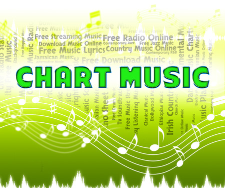 soundtrack: Music Charts Representing Best Sellers And Soundtrack Stock Photo