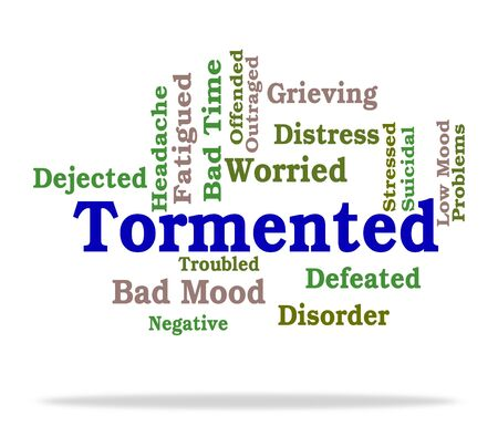 afflict: Tormented Word Showing Suffering Abuse And Tormenting Stock Photo