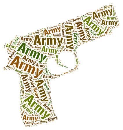 armed: Army Word Showing Armed Force And Text Stock Photo