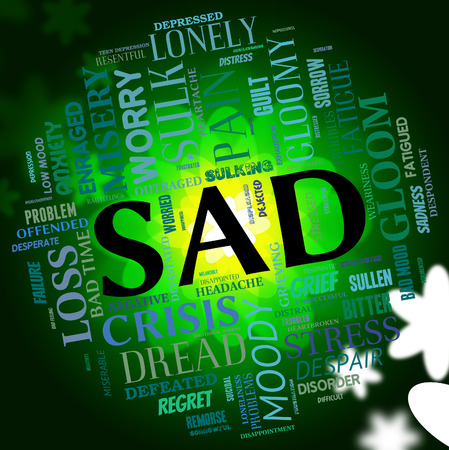 despairing: Sad Word Showing Broken Hearted And Glum