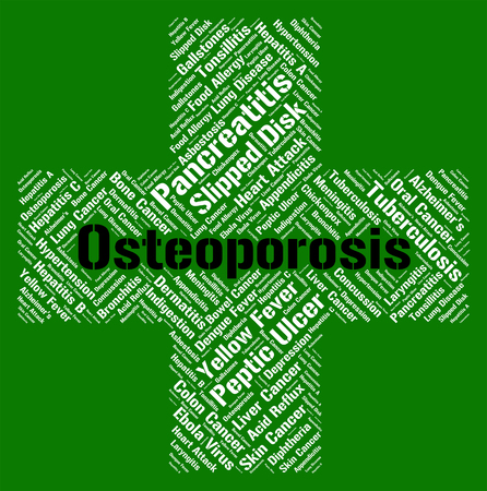decreased: Osteoporosis Word Showing Ill Health And Bones Stock Photo