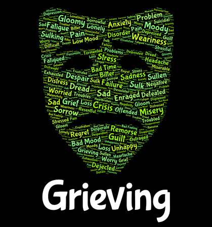 hearted: Grieving Word Indicating Broken Hearted And Wordcloud Stock Photo