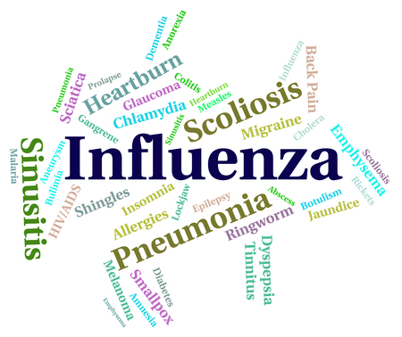 influenza: Influenza Word Representing Ill Health And Fever