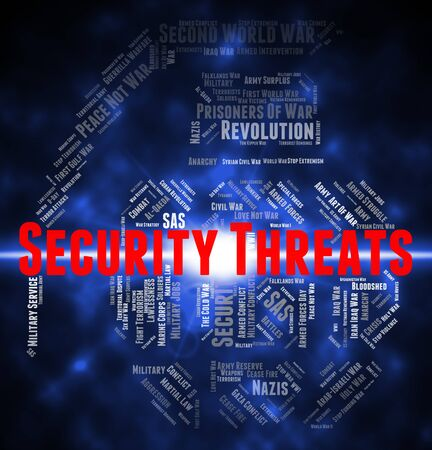 intimidating: Security Threats Showing Intimidating Remark And Protect Stock Photo