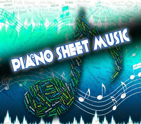 simbolos musicales: Piano Partituras Mostrando s�mbolos musicales y Canci�n Foto de archivo