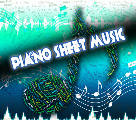 upright piano: Piano Sheet Music Showing Musical Symbols And Song Stock Photo