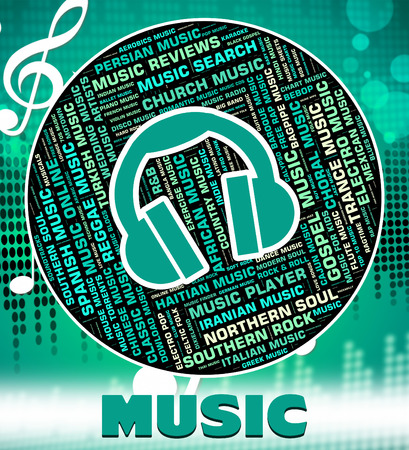 tunes: Music Word Showing Sound Tracks And Tunes Stock Photo
