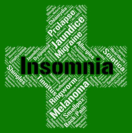 cansancio: Insomnio Palabra Mostrando Apnea del Sueño Y Insomniac