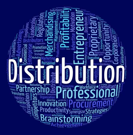 distributing: Distribution Word Showing Supply Chain And Wordclouds