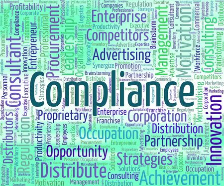 complied: Compliance Word Showing Agree To And Comply