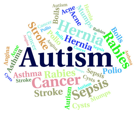 affliction: Autism Word Showing Poor Health And Disease