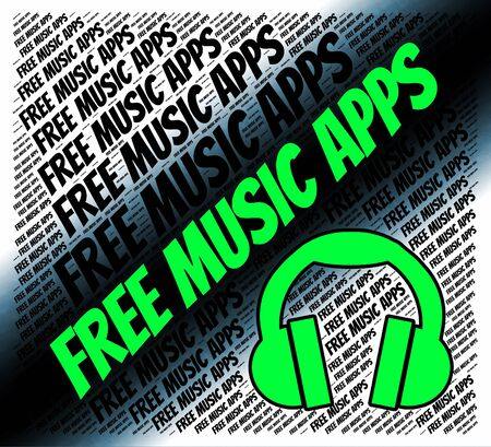 freebie: Free Music Apps Showing Sound Track And Computer Stock Photo