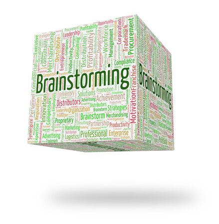 put on: Brainstorming Word Representing Put Heads Together And Wordclouds Analyze Stock Photo