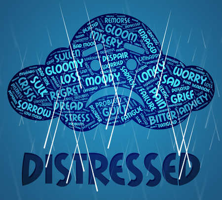 distressing: Distressed Word Showing Worked Up And Torment Stock Photo