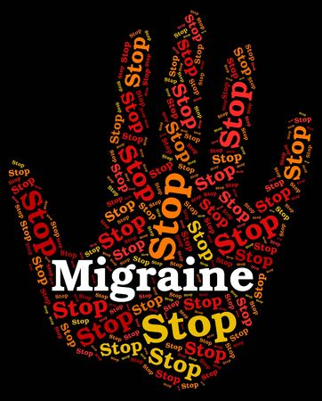 neurological: Stop Migraine Representing Neurological Disease And Stopping Stock Photo