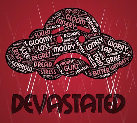 traumatized: Devastated Word Showing Devastating Shattered And Daze Stock Photo
