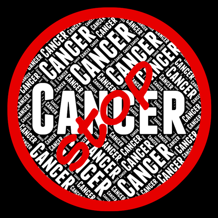 malignant: Stop Cancer Showing Malignant Growth And Tumors Stock Photo