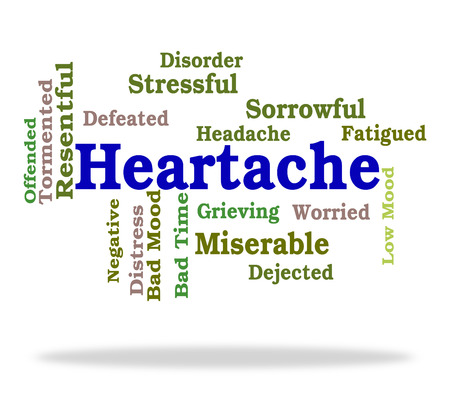 anguish: Heartache Word Showing Wordcloud Sadness And Anguish