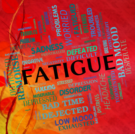 drowsiness: Fatigue Word Showing Lack Of Energy And Wordclouds Overtired