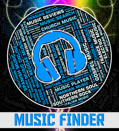 finders: Music Finder Indicating Sound Tracks And Pinpoint Stock Photo