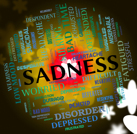 inconsolable: Sadness Word Showing Grief Stricken And Words