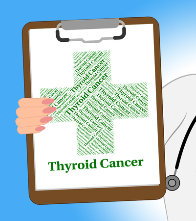 poor health: Thyroid Cancer Indicating Poor Health And Diseased Stock Photo