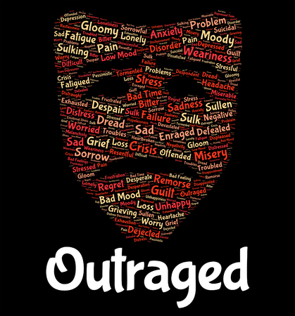infuriate: Outraged Word Indicating Anger Wordcloud And Affronted
