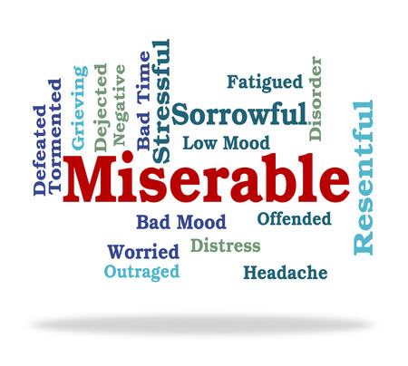 cabizbajo: Palabra Miserable Significado Baja Spirited y desolado Foto de archivo