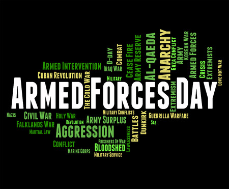 armed services: Armed Forces Day Indicating Military Service And Clash
