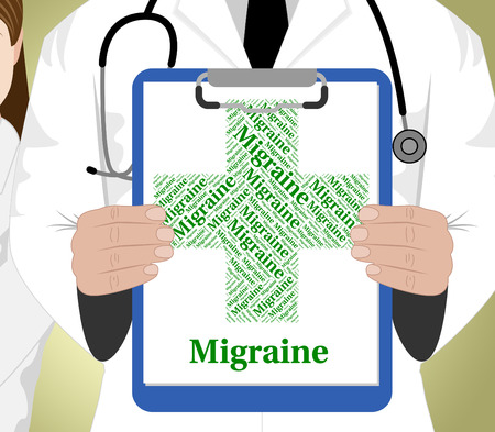 afflictions: Migraine Word Showing Ill Health And Headache