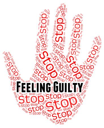arrepentimiento: Deje de sentirse culpable representación de sí mismo acusación y control Foto de archivo