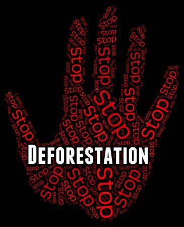 deforestacion: Detener la deforestación que indica la señal de peligro y deforestados Foto de archivo